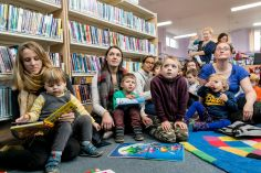 Kids listening at Wick Road Library